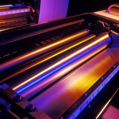 Ink well rollers on a six color sheetfed printing press.